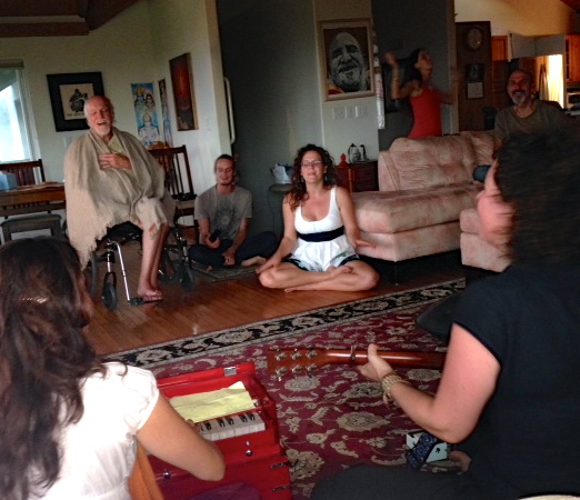 Singing with Ram Dass at his home in Maui, October 2013