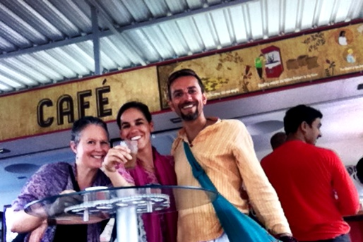 with Joy of Being Yoga and Chant Retreat co-facilitators Julia and Fabio Giaccone in Auroville, South India