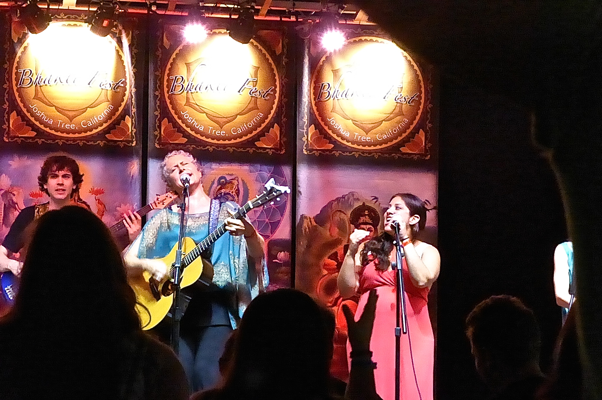 Brenda and band (pictured here Elden Kelley and Irene Solea) at Bhakti Fest Midwest 2014 - photo by Maie P. Jyoti