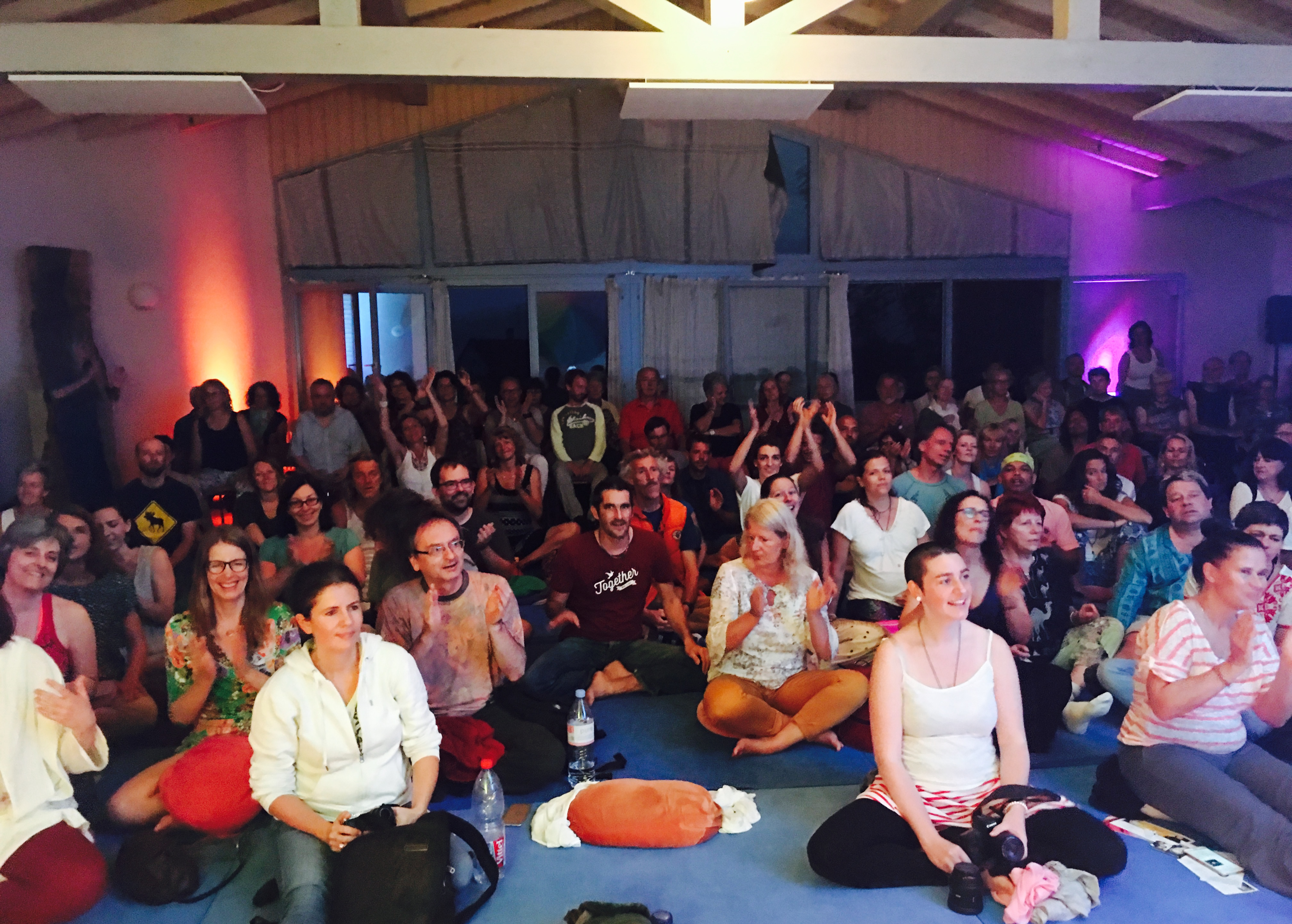 the beautiful crowd at our public kirtan held on the Saturday night of Flight School